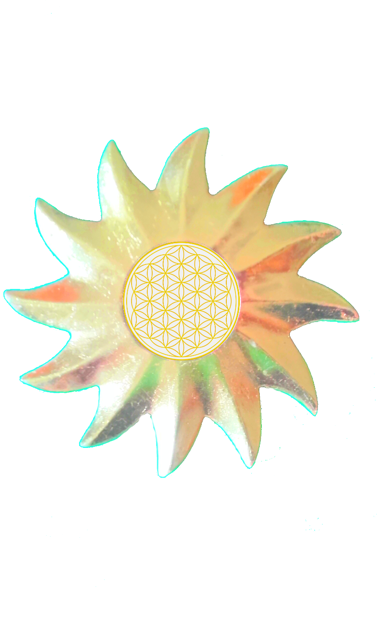 Sonnenspiegel freigestellt mit Blume des Lebens gold II - Web